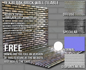 DBuzzi White Brick Wall Tilable