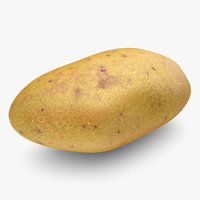 obj realistic potato yellow red