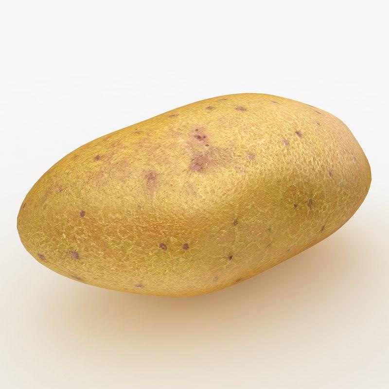 obj realistic potato yellow red