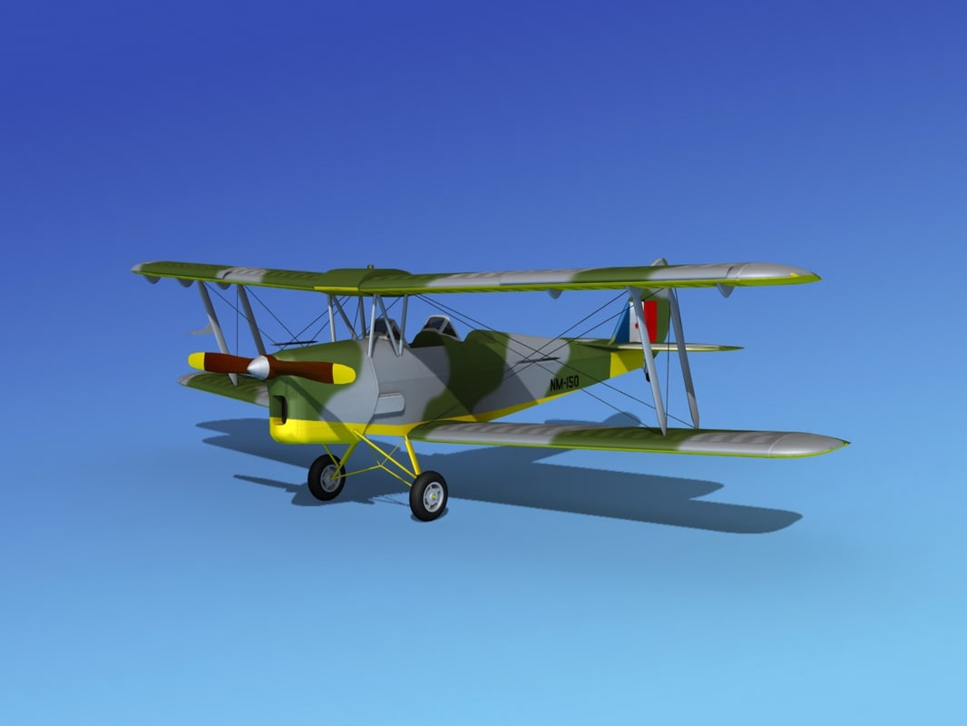tiger moth dehavilland 3d max