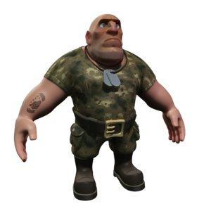 cartoon soldier 3d fbx