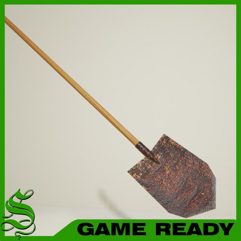 long spade shovel 3d model