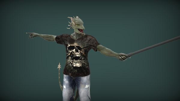 human lizard 3d model