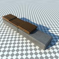 modern concrete park bench 3d max