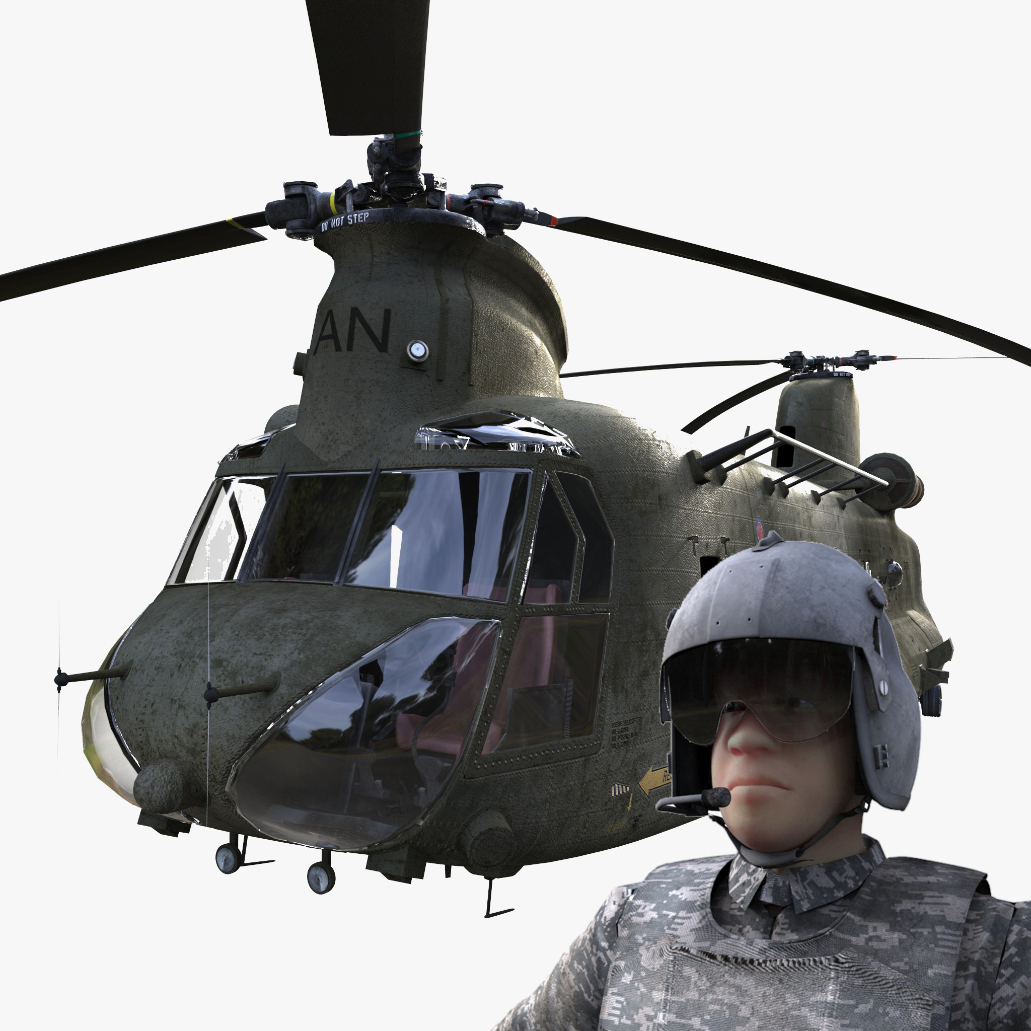 chinook ch-47 pilot rig 3d x