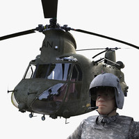 chinook ch-47 pilot rig 3d x