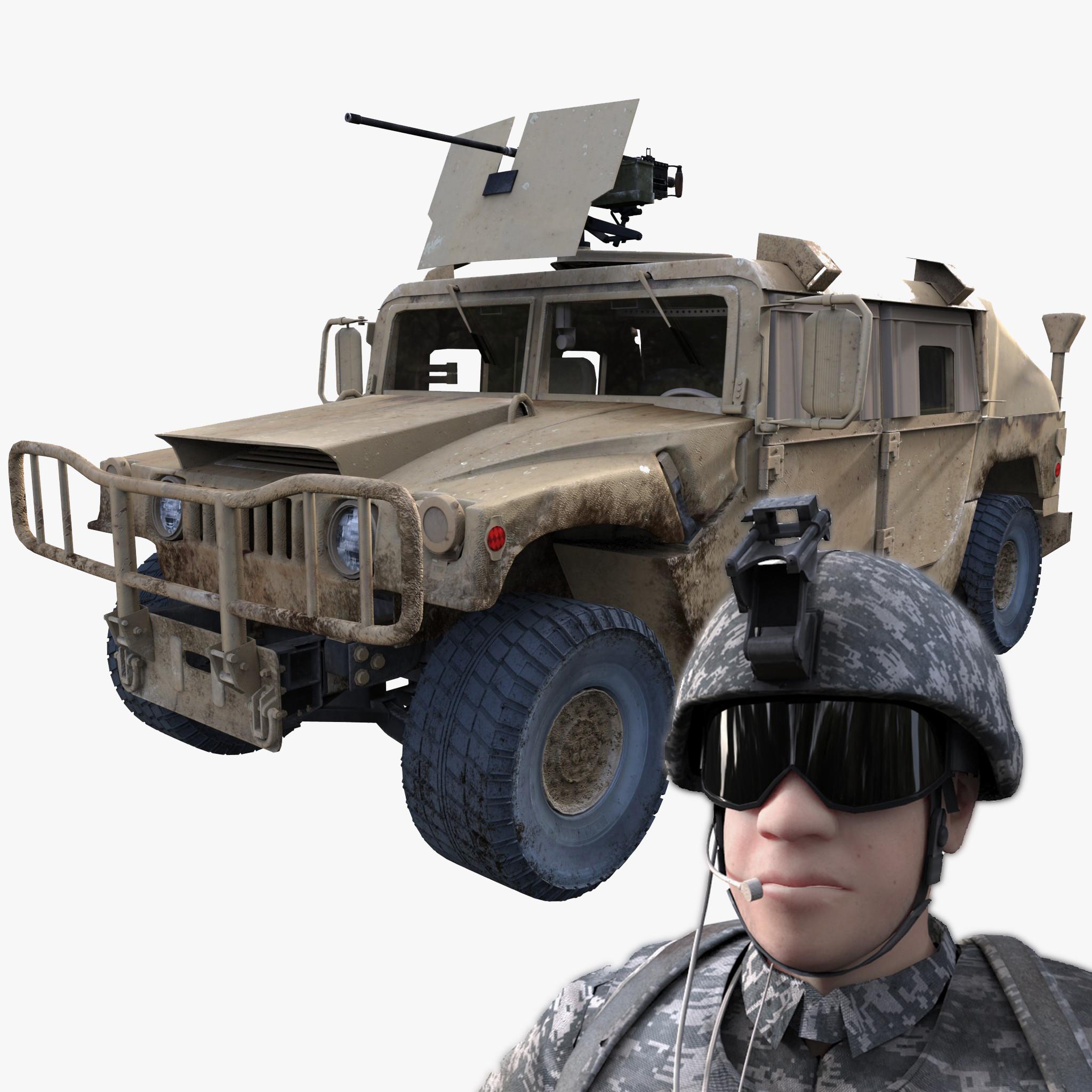 military hummer rig 3d model