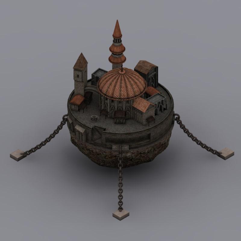 flying fantasy castle 3d max