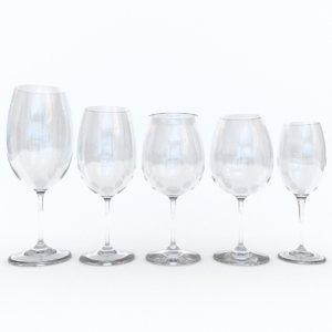 3d model red wine glasses pack