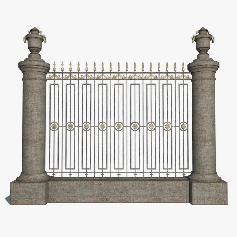 3dsmax fence old ornamental