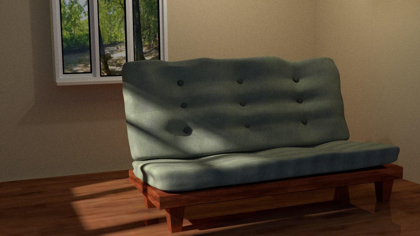 mission futon couch 3d model