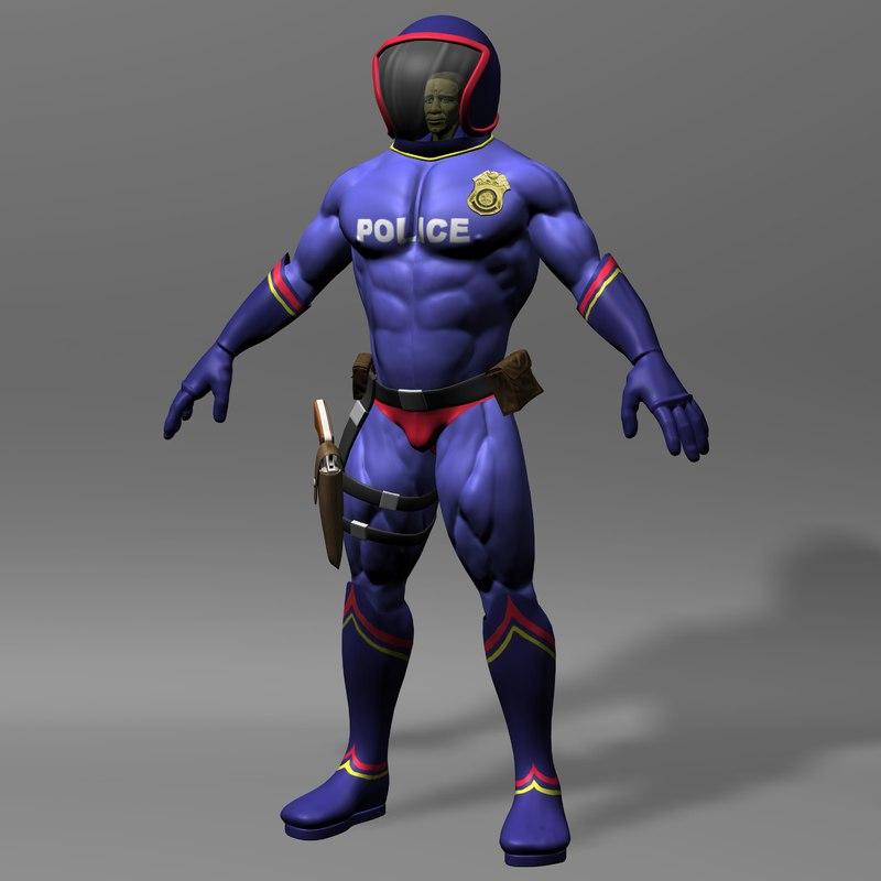 police policeman human 3d model
