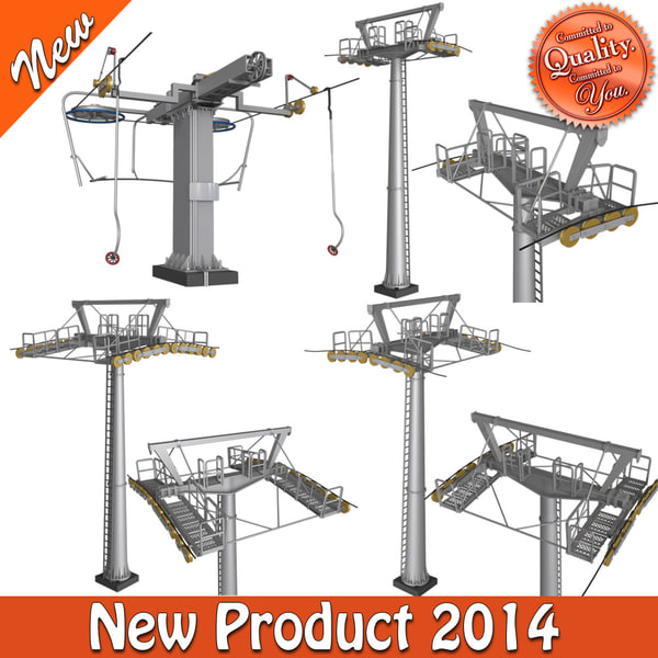 3d model of cable way pillars