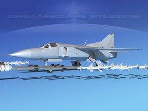 3d dxf mig-23 flogger b fighter