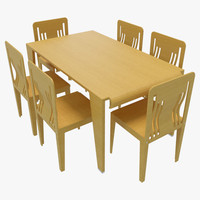dining table chairs-4 chairs 3d 3ds