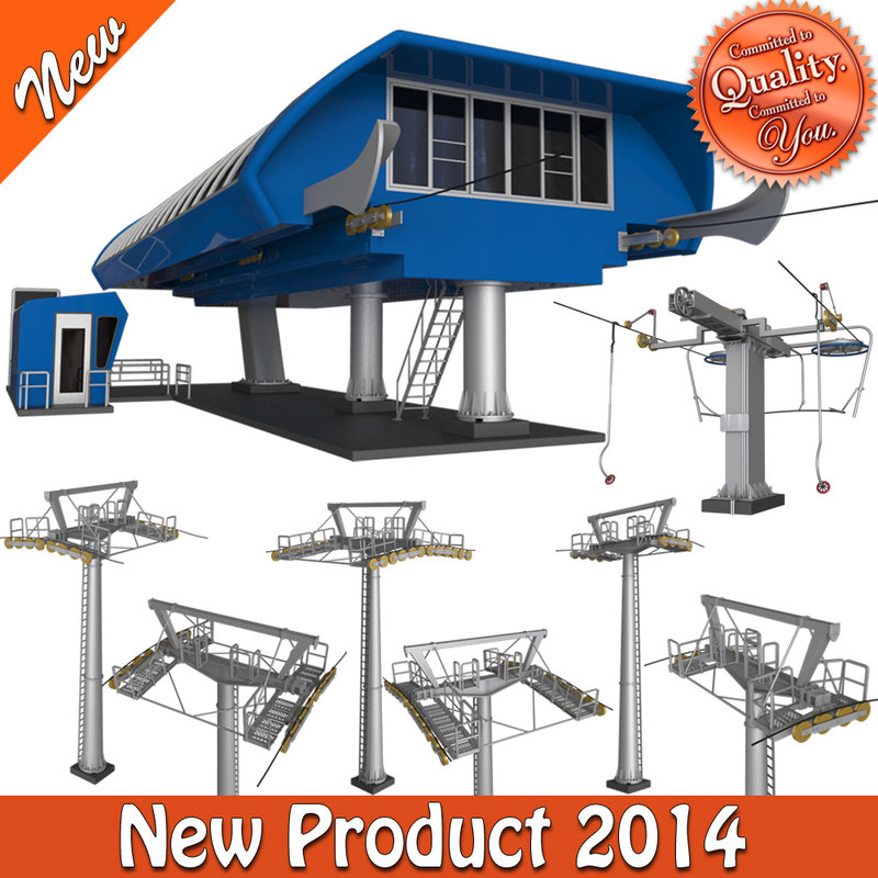 3d model of skiing station cableway pillars