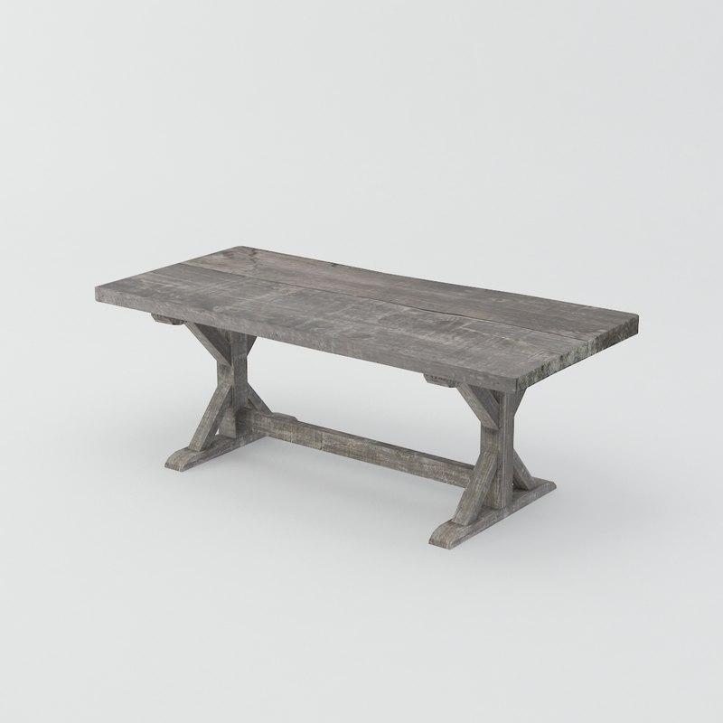 3d model late trestle table