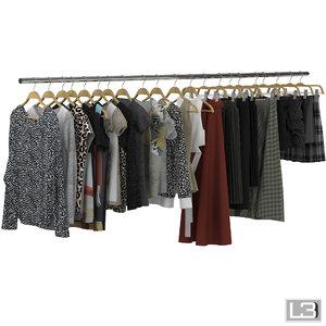 3d model of woman clohes hangers