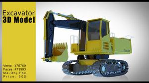 excavator 3d obj