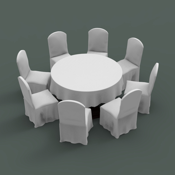 3d table chair banquet model