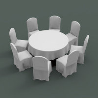 Banquet table and chair