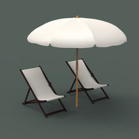 beach chair umbrella 3d model