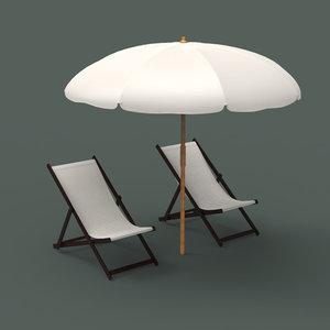 beach chair umbrella 3d model