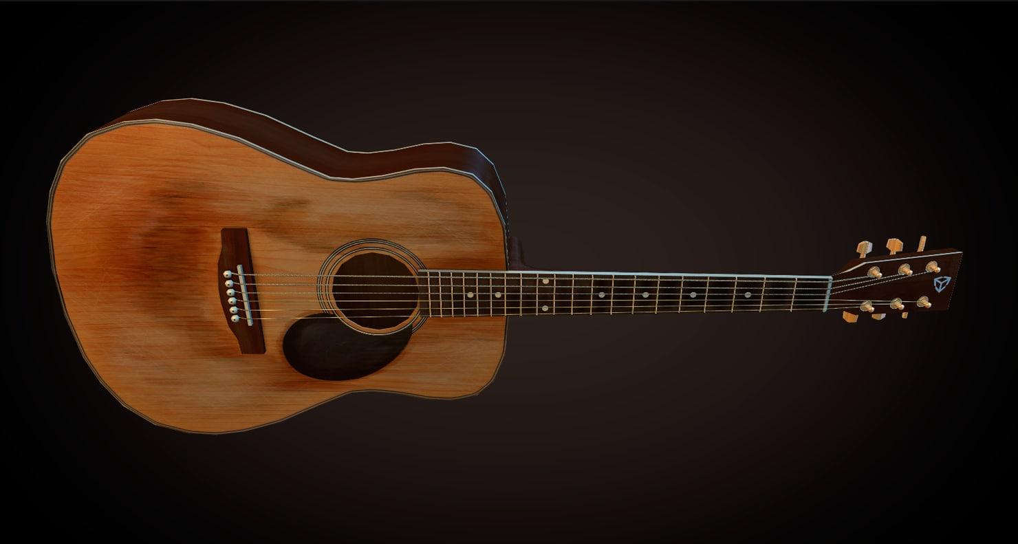3d old acoustic guitar model