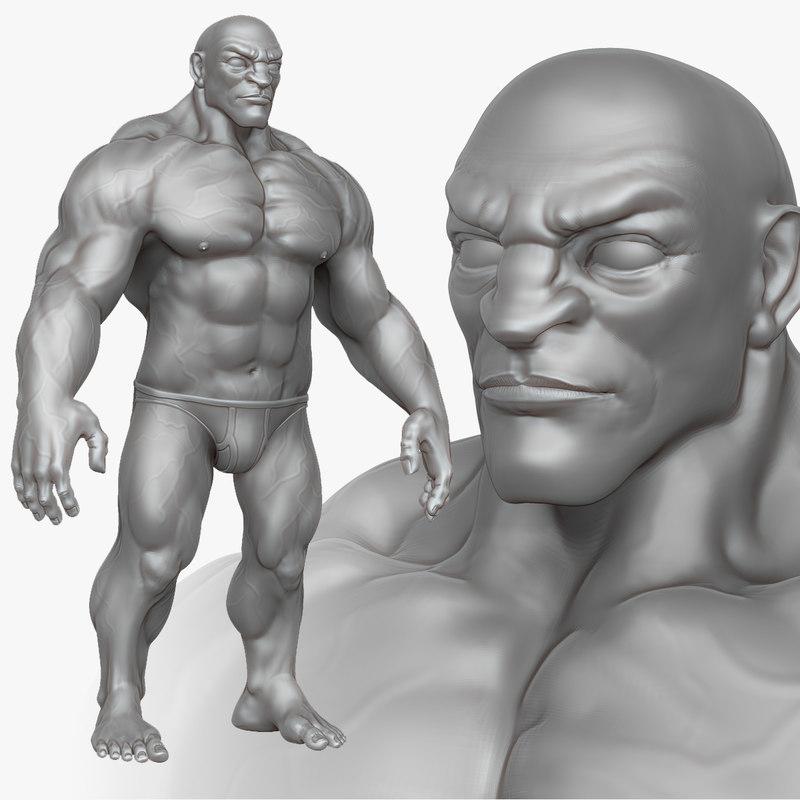 sculpt muscular man zbrush 3d obj