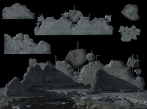 set ruined wall 3d model