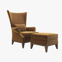 3dsmax egret wing armchair donghia