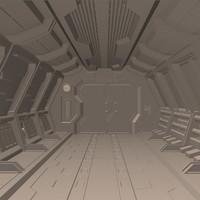 3d model sci fi hallway