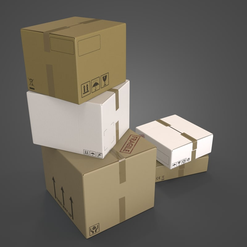 3d cardboard boxes container