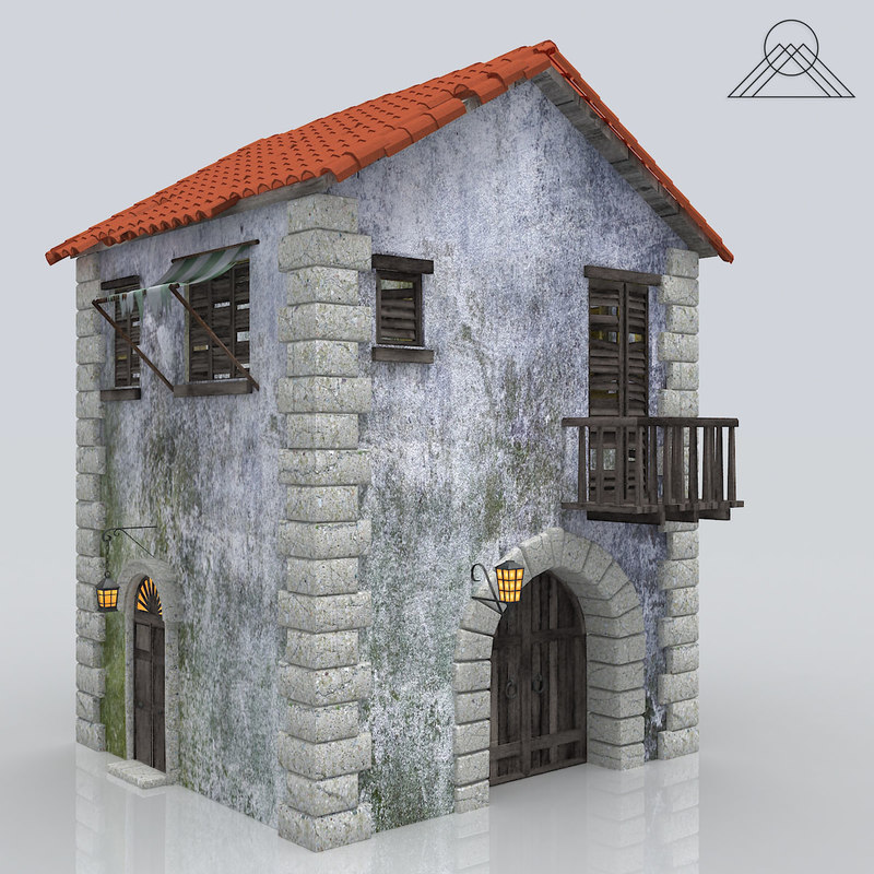 3d model old ghost house building