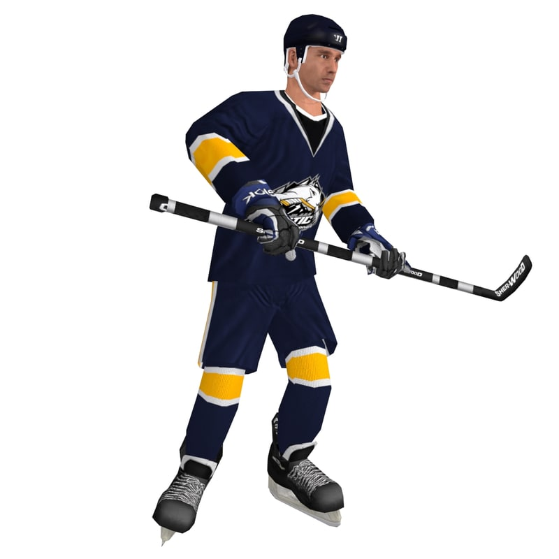 3d max rigged hockey player