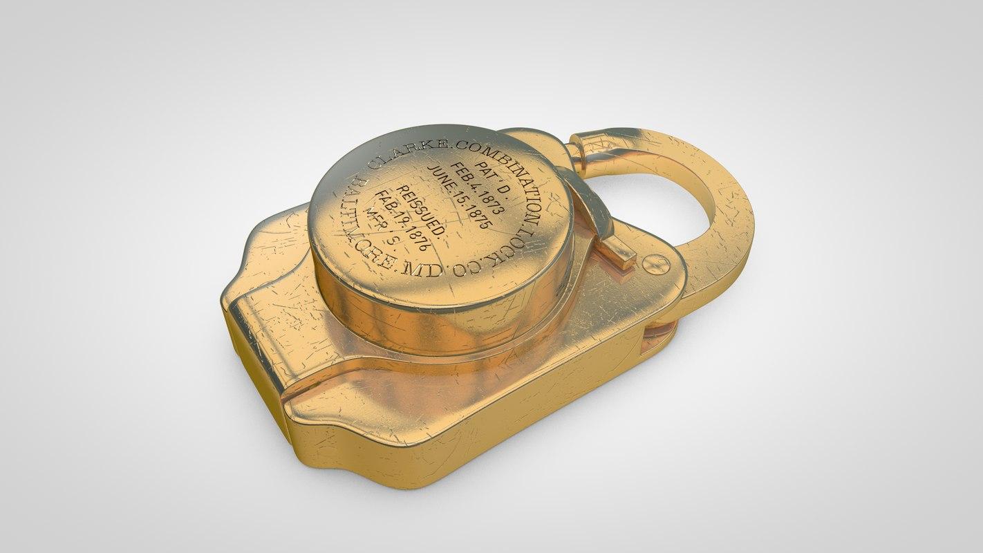 3d old treasury padlock model