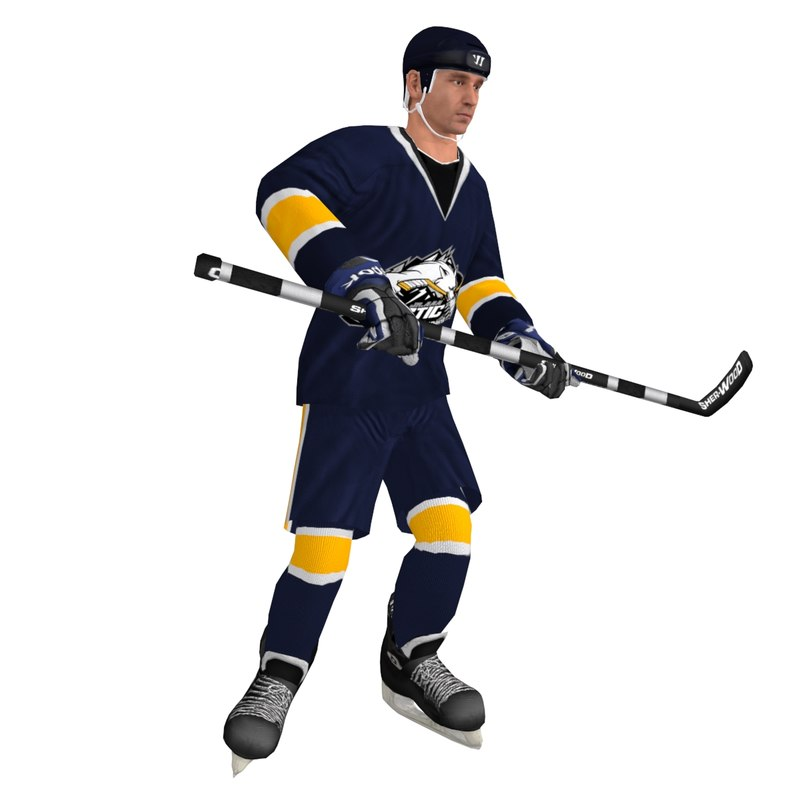rigged hockey player 3d model