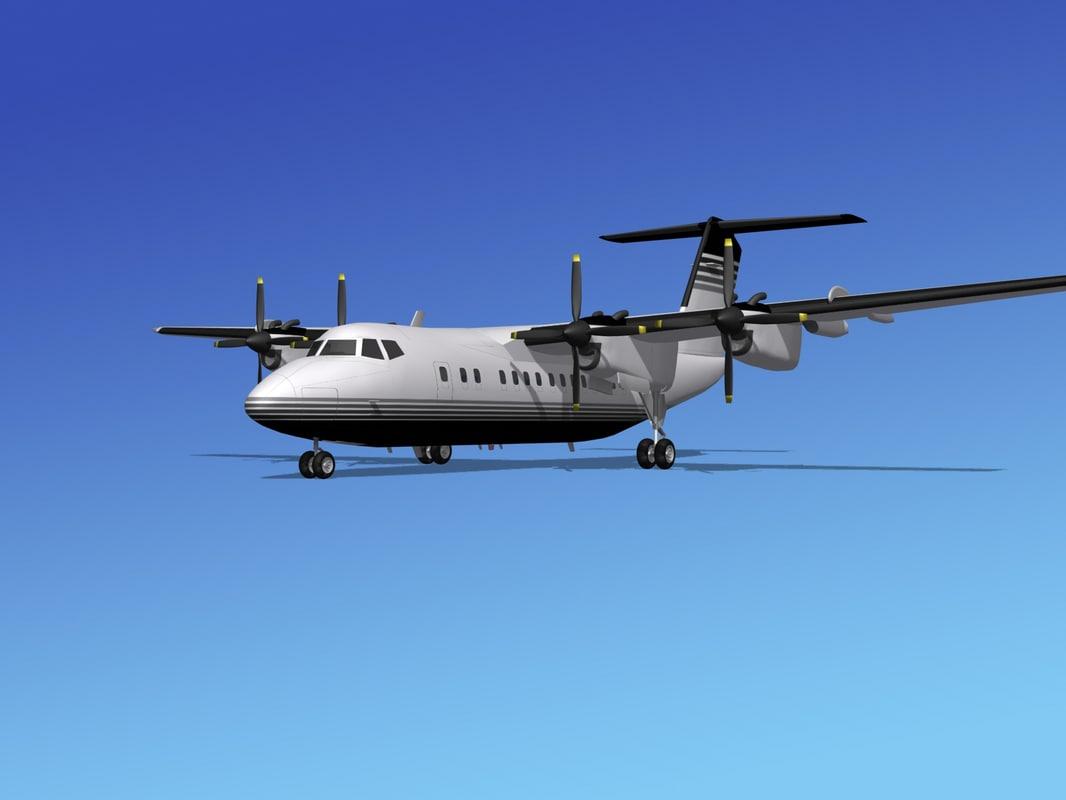 dhc-7-200 propellers passenger 3d model