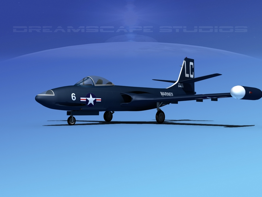 3d korean f2h banshee jet fighter model