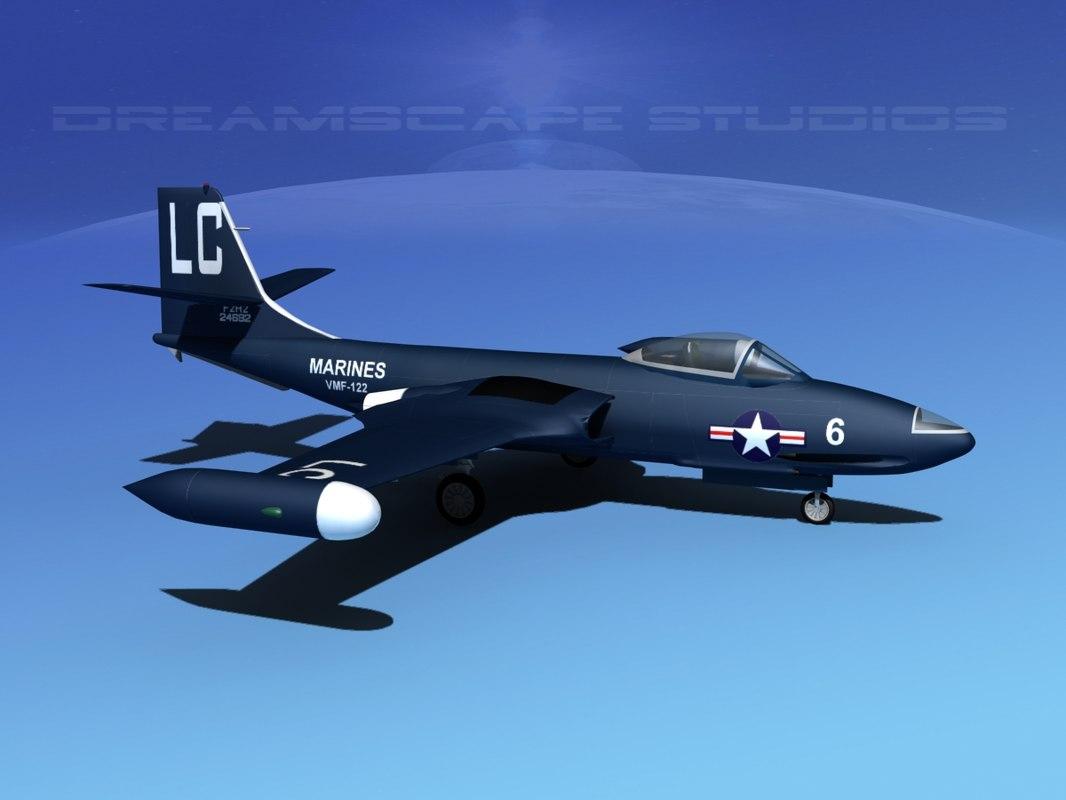3d korean f2h banshee jet fighter model