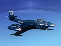 korean f2h banshee jet fighter 3d model