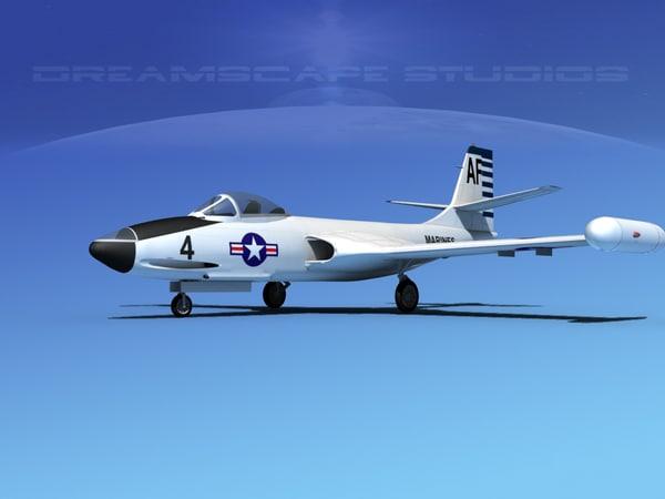 korean f2h banshee jet fighter 3d lw