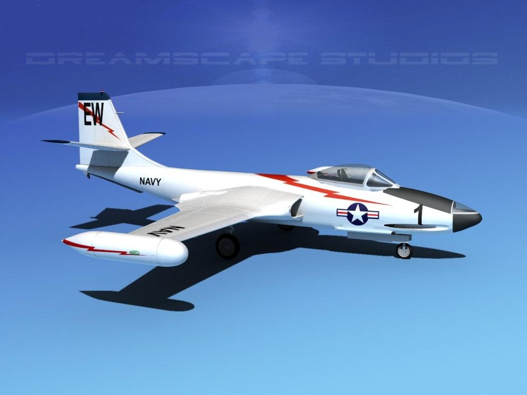 korean f2h banshee jet fighter 3d model