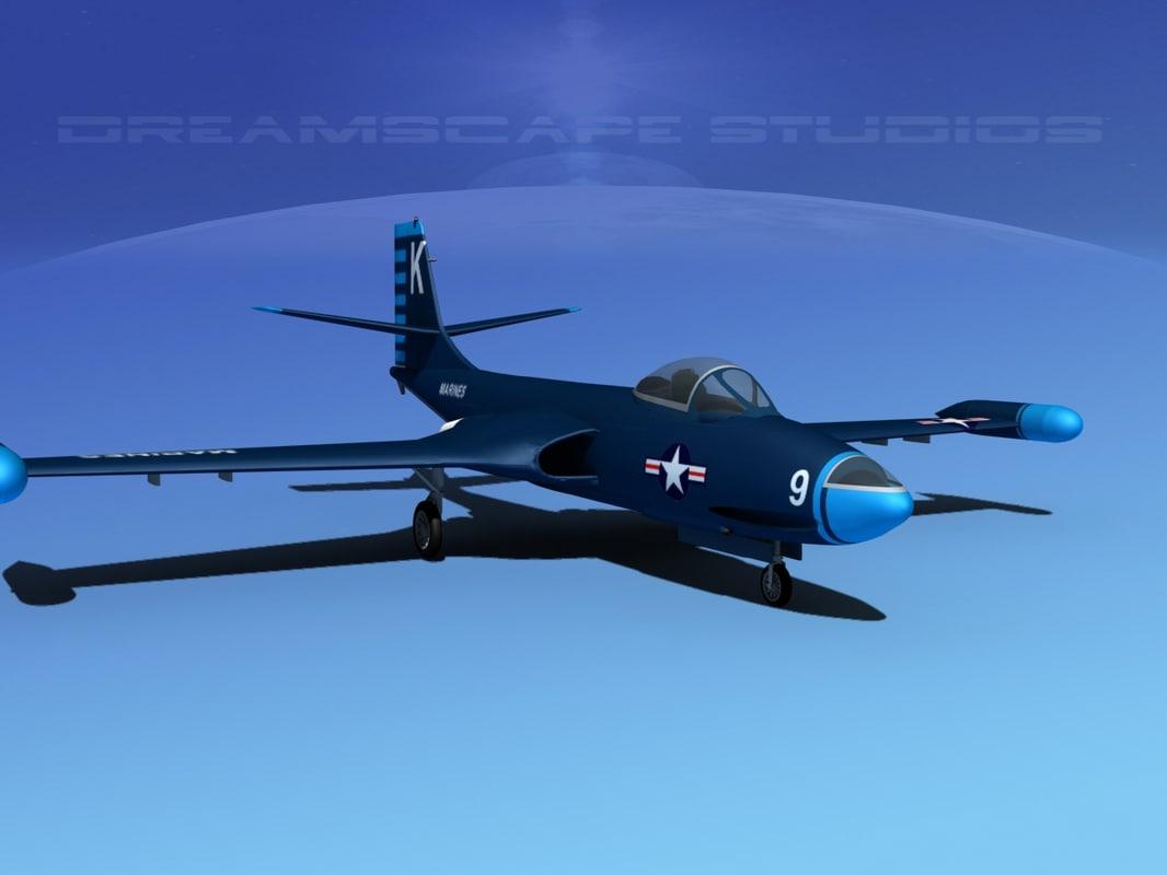 3d model korean f2h banshee jet fighter