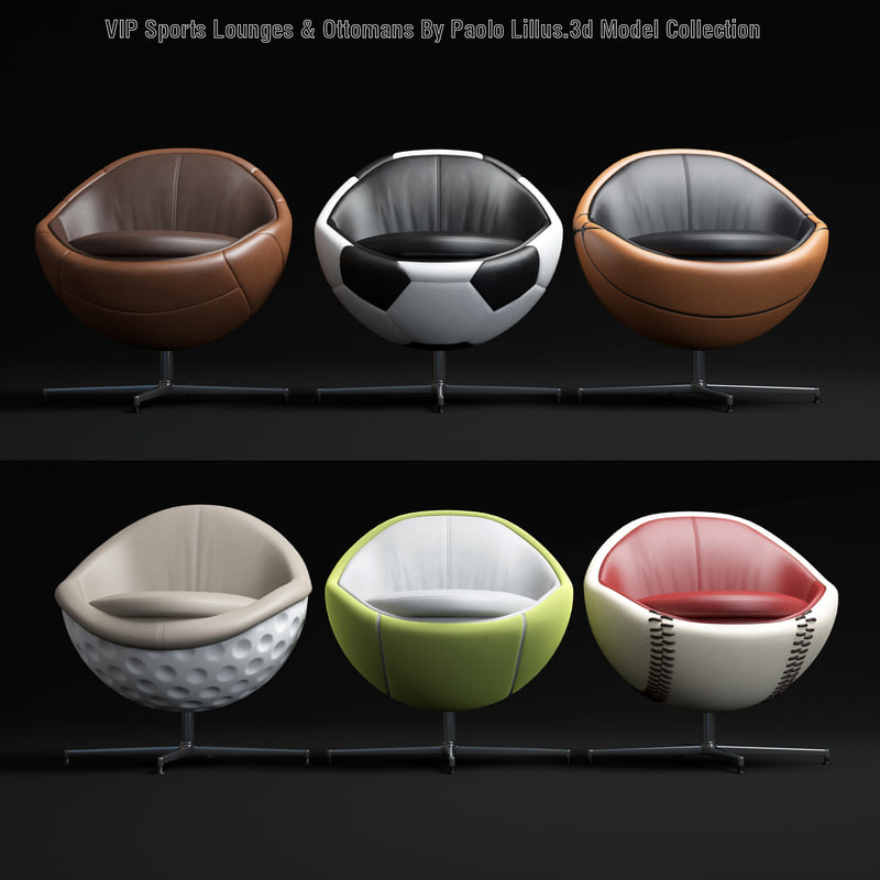 3d sports-lounges- -ottomans model