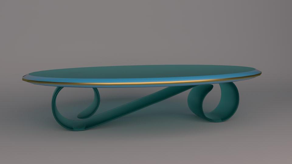 glass oval table atlantis 3d model