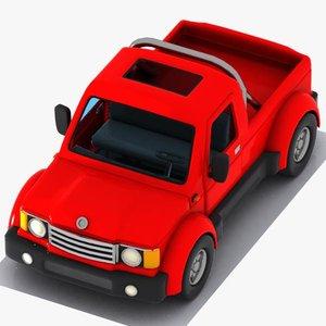 3d cartoon pickup truck model