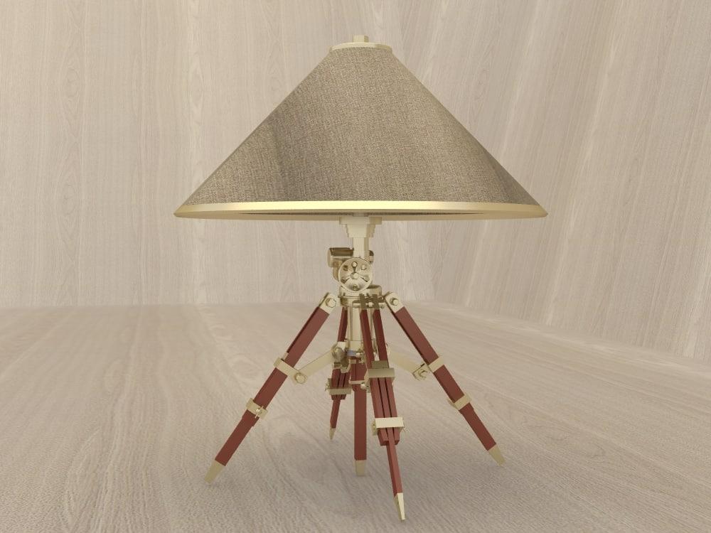 3d model gold lamp shade