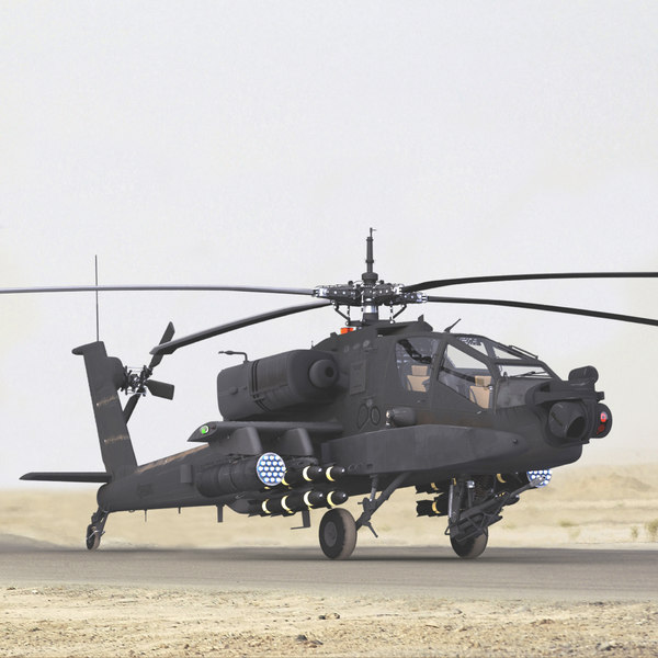 obj ah64a apache helicopter gray