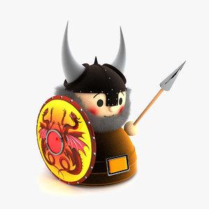 3d viking doll toy model